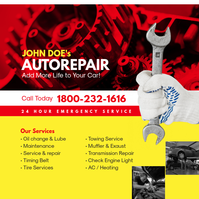 24 Hour Oil Change >> Auto Repair Service Instagram Ad Post Template Postermywall