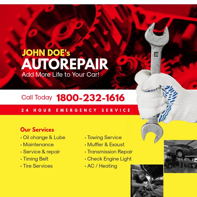 Auto Repair Service Instagram Ad Post Template