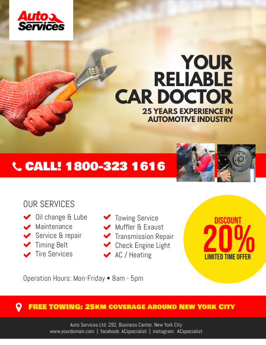 auto repair services flyer template postermywall