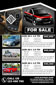 Fully customizable auto sale flyer (For up to 3 cars)
