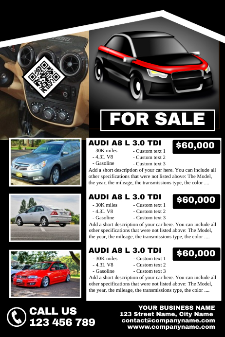 fully customizable auto sale flyer for up to 3 cars template