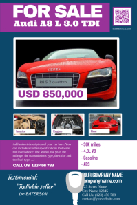 Auto sale poster with photo, description and specifications