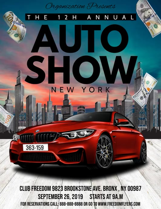 Auto Show Flyer video Volante (Carta US) template