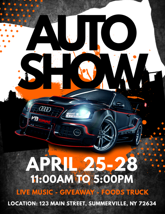 auto show flyer template postermywall. Black Bedroom Furniture Sets. Home Design Ideas