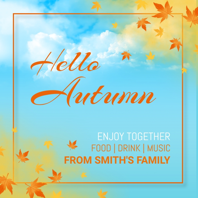 Autumn, Thank you,thanks giving,event Vierkant (1:1) template