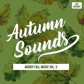 Autumn and fall music album cover art template