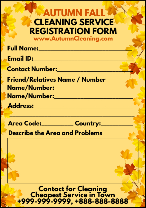 Autumn Cleaning Service Form Template A4
