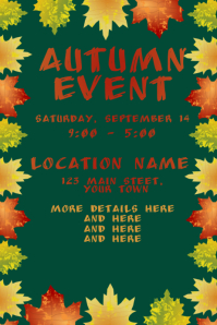 Autumn Event with Teal Green Background