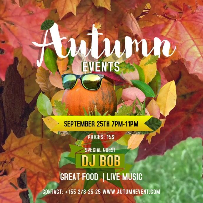 Autumn Events Instagram Video Kwadrat (1:1) template