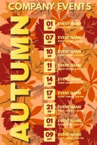Autumn Events Schedule Calendar Template Poster