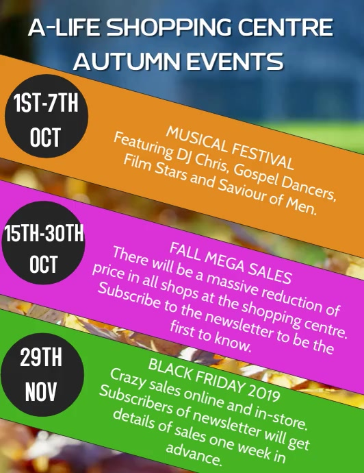 Autumn Events Video And Audio Template Folheto (US Letter)