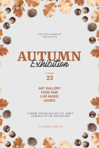 autumn exhibition flyer template Плакат