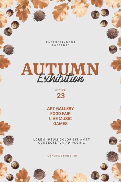 autumn exhibition flyer template Plakat