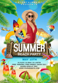 Beach party A4 template