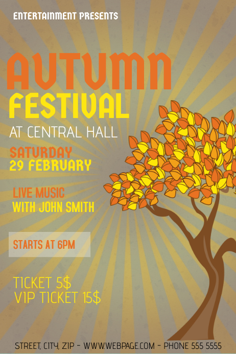 autumn fall festival eent poster flyer template