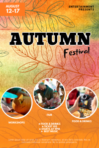 Autumn fall festival fair flyer template