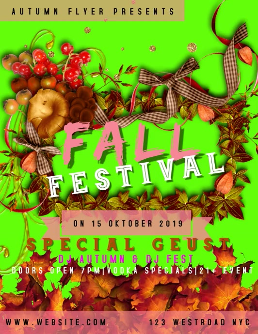 AUTUMN FALL FESTIVAL FLYER TEMPLATE ใบปลิว (US Letter)