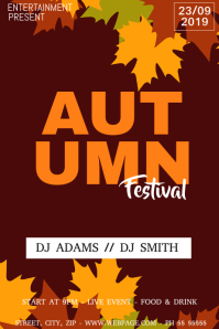 Autumn fall festival flyer template
