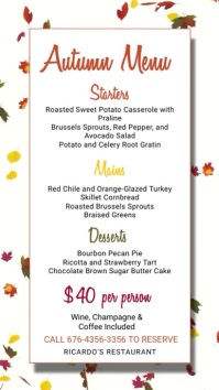 Autumn Fall Menu Template Digital Display (9:16)