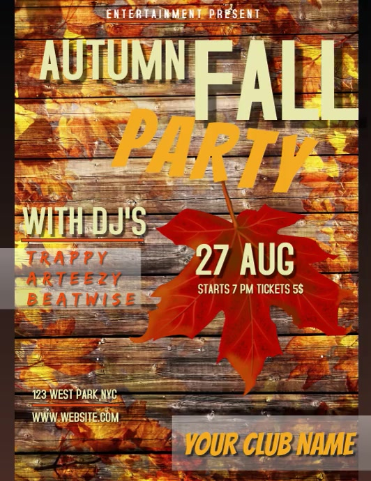 AUTUMN FALL PARTY FLYER TEMPLATE social media Løbeseddel (US Letter)