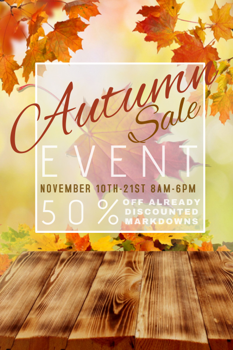 Autumn Fall Thanksgiving Halloween Sale Business Retail