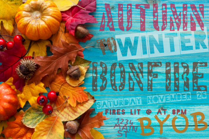 Autumn Fall Winter Bonfire Outdoor Leaves Wood Deck Party