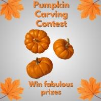 autumn fest, pumpkin carving contest โพสต์บน Instagram template