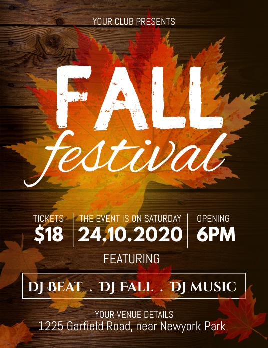 autumn festival, fall, harvest Flyer (US-Letter) template