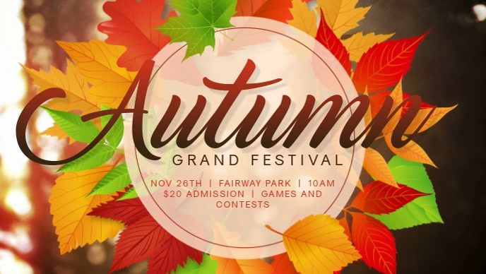 Autumn Festival Event Facebook Cover Video Template Facebook-omslagvideo (16: 9)
