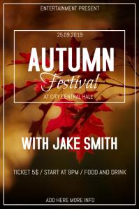 Autumn festival flyer template โปสเตอร์