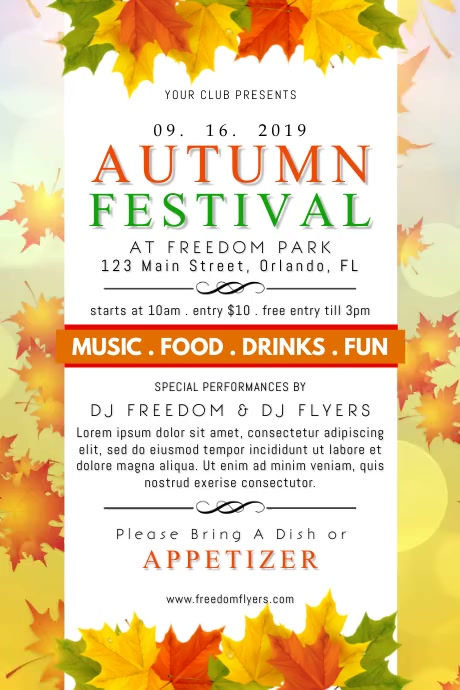 Autumn Festival Poster Cartaz template