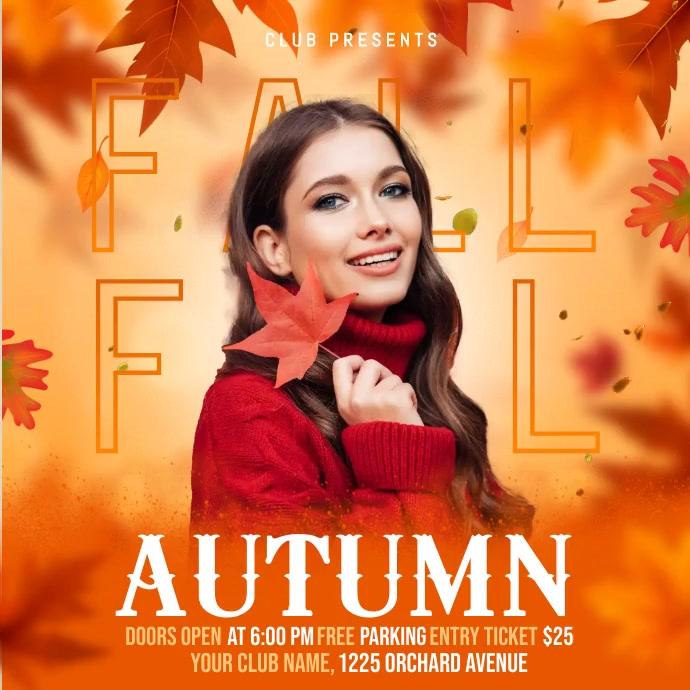 autumn flyer, autumn sale, fall, harvest Instagram na Post template