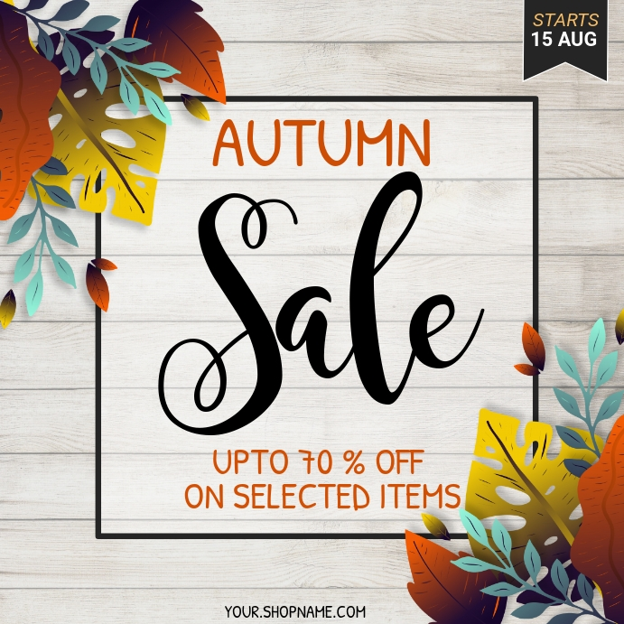 autumn flyer, autumn sale, fall, harvest Quadrado (1:1) template