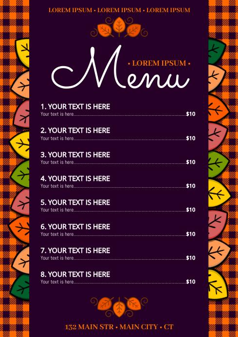 AUTUMN / THANKSGIVING MENU A4 template