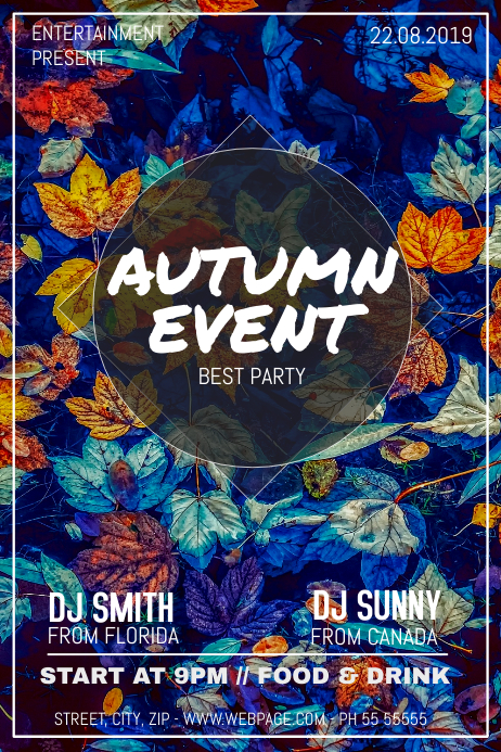 Autumn Party night flyer template