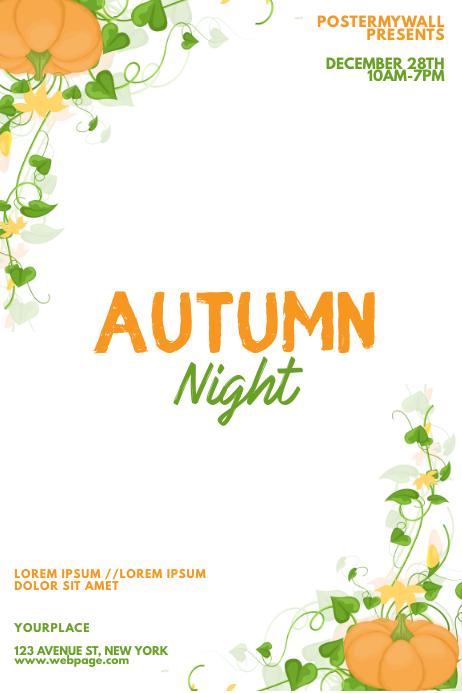 Autumn pumpkin event flyer design
