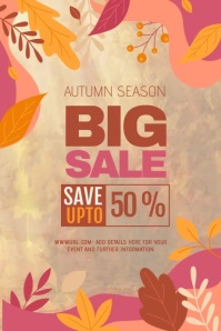 Autumn sale, Fall festival, Autumn Poster template