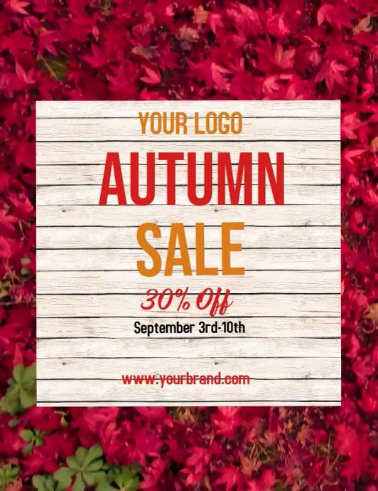 Autumn sale, fall sale, Løbeseddel (US Letter) template