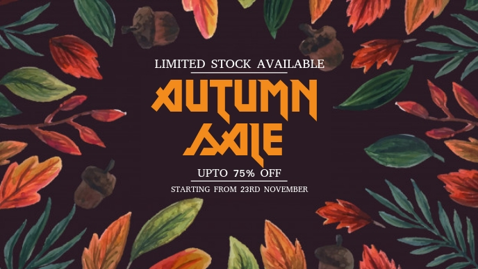 Autumn Sale Flyers Facebook Cover Video (16:9) template