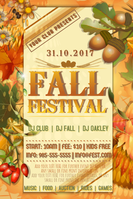 copy of autumn sale harvest fall event party promo foliage