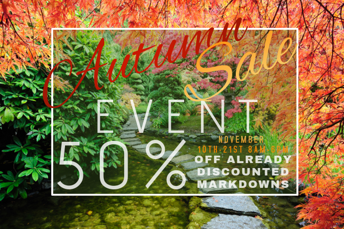 Autumn Sale Retail Fall Path Harvest Promo Country Foliage