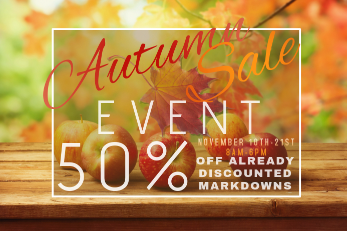 Autumn Sale Retail Harvest Apple Fall Discount Promo Foliage Plakat template