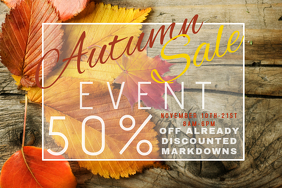 Autumn Sale Retail Harvest Fall Discount Coupon Promo Leaves