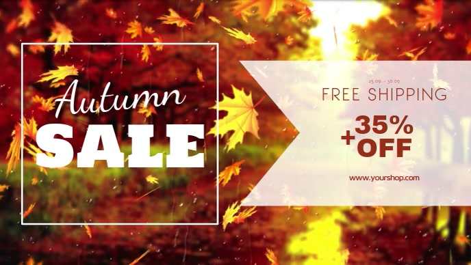 Autumn Sale video advert promo store retail shop foliage Facebook-covervideo (16:9) template