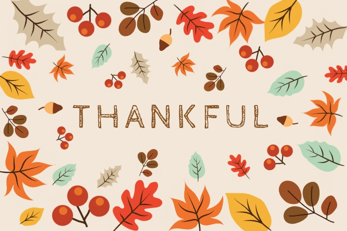 Autumn Thankful Thanksgiving Greeting Card Etichetta template