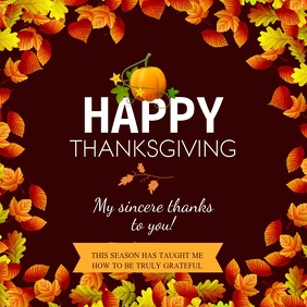 Autumn Themed Thanksgiving Greeting Card Squa Carré (1:1) template