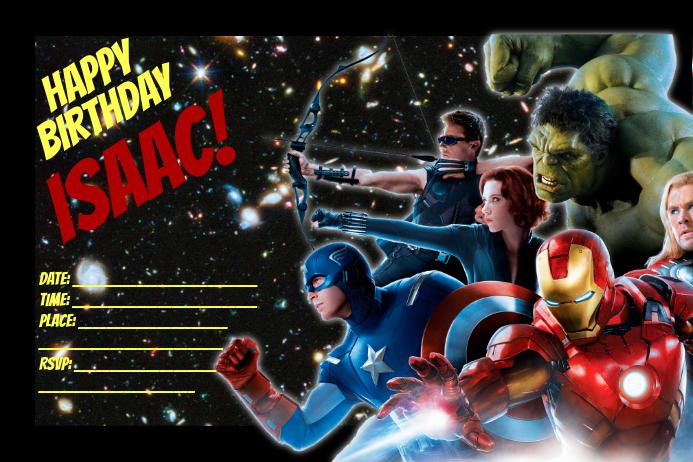 Avenger Birthday Poster template