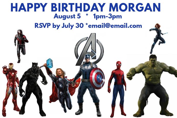 Avengers Birthday Poster template