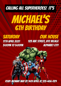 Avengers Birthday Invitation A4 template