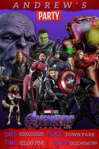 Avengers Marvel Hero Party Birthday Invite Poster template